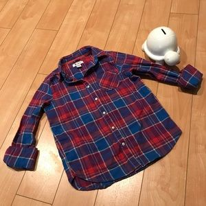Girls red& blue plaid top Sz 10/12 long sleeve